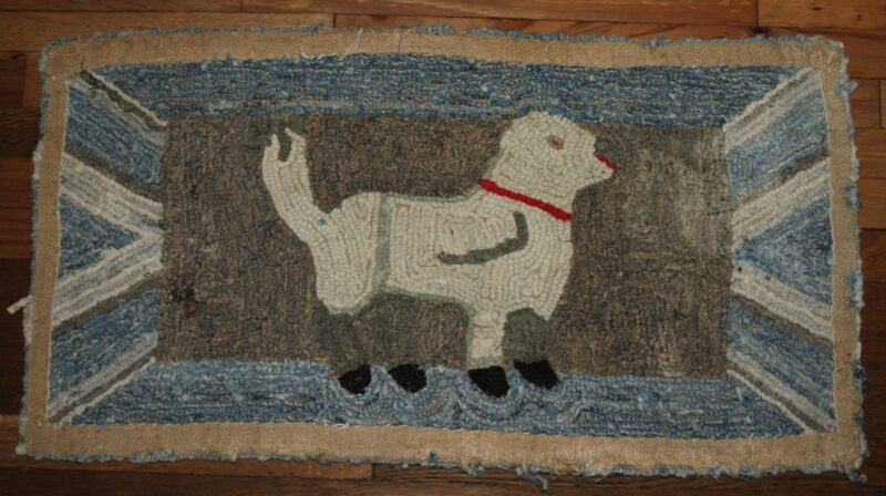 R-Dog Hooked Rug Hand dyed wool by Blackberry Primitives