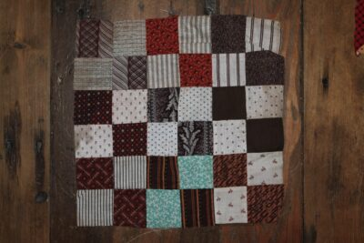 R-19th C Quilt Block Hand dyed wool by Blackberry Primitives
