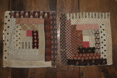 R-19th C. Log Cabin Quilt Blocks Hand dyed wool by Blackberry Primitives